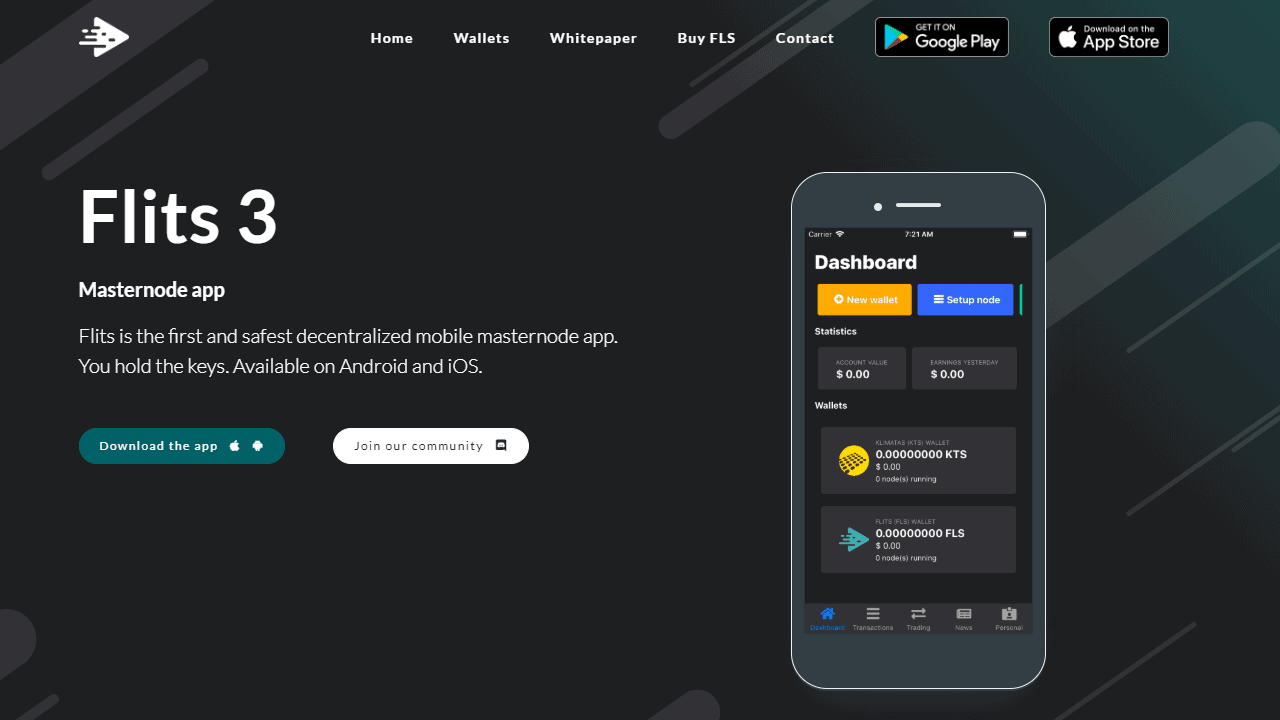 Flits is the first and safest decentralized mobile masternode app