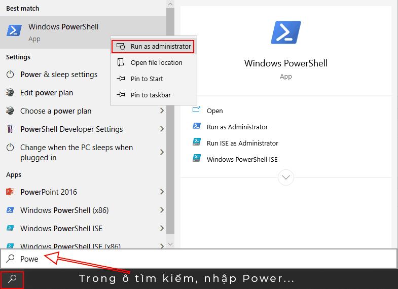 Mở Power Shell với quyền Admin
