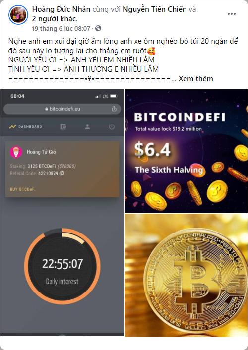 Hoàng Tử Gió kêu gọi tham gia Wefinex, BitcoinDeFi