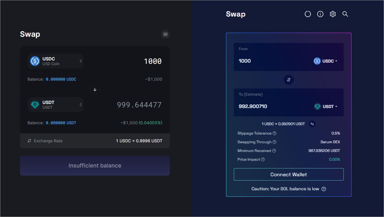 So sánh trượt giá Raydium và Saber
